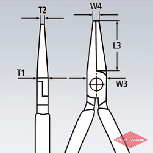 Круглогубцы с плоскими губками с режущими кромками, 200 мм, KNIPEX KN-2616200TBK