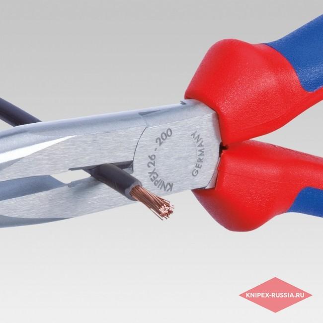 Плоские круглогубцы с режущими кромками со страховочным креплением KNIPEX KN-2625200T