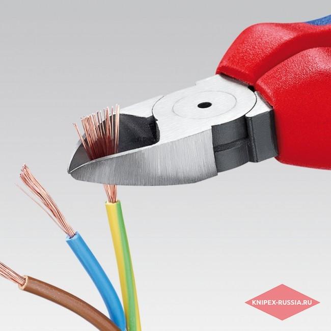 Кусачки боковые со страховочным креплением KNIPEX KN-7005180T