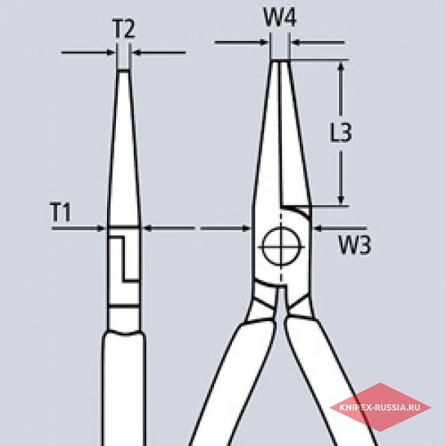 Плоские круглогубцы с режущими кромками KNIPEX KN-2502160