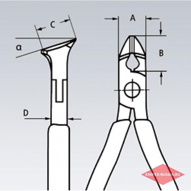 Кусачки угловые для электроники KNIPEX KN-6212120