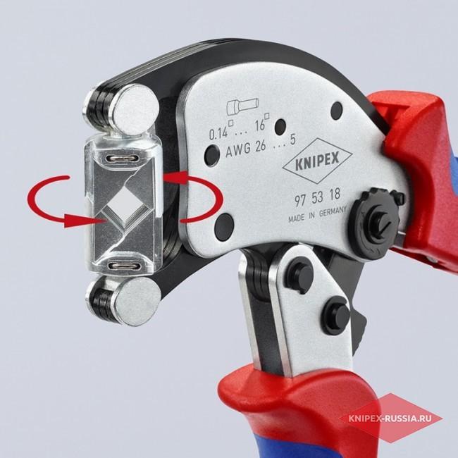 Инструмент для тетрагональной опрессовки точеных контактов Twistor16 KNIPEX KN-975318